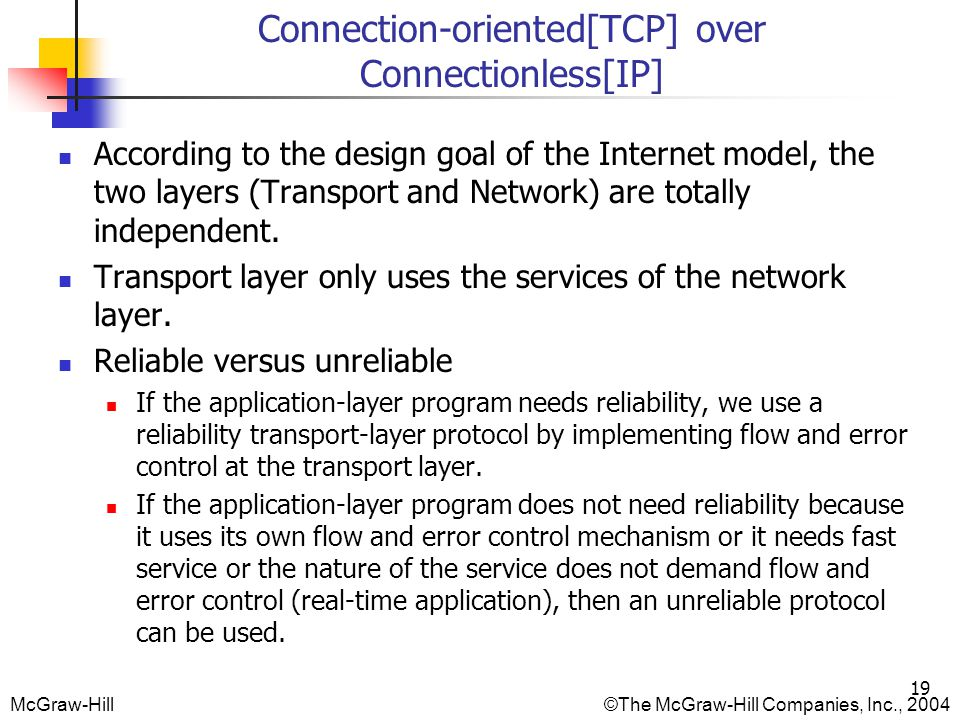 Connection-oriented[TCP] over Connectionless[IP]